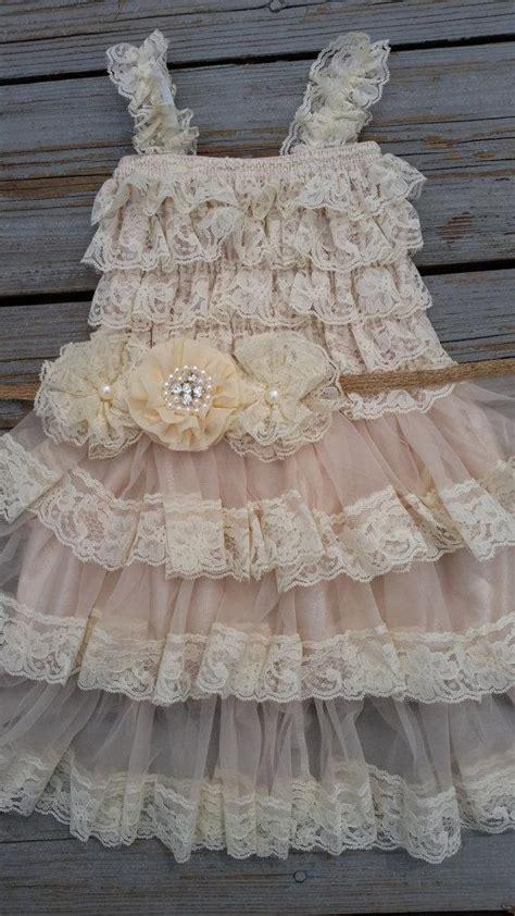 lace flower girl dress shabby chic flower girl cream