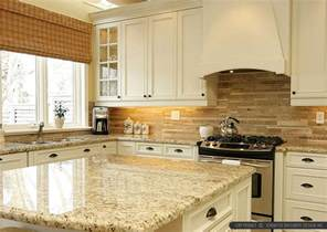 Kitchen Countertops And Backsplash Ideas Tropic Brown Countertop Travertine Backsplash Tile Backsplash Kitchen Backsplash