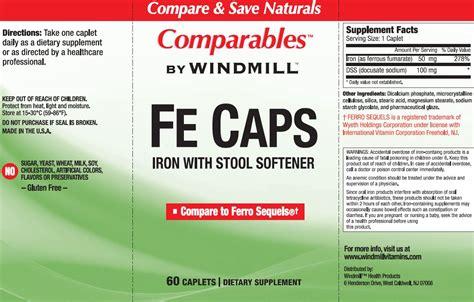 fe caps with stool softener windmill vitamins