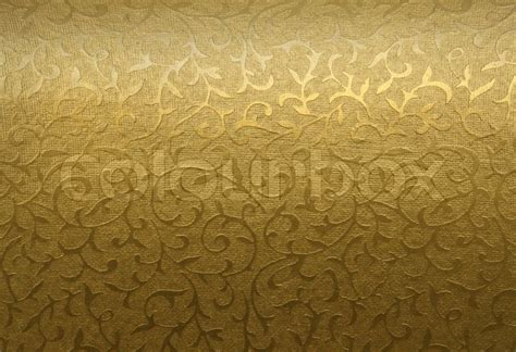 Total Home Decor Golden Brocade Fabric Floral Texture Background Stock