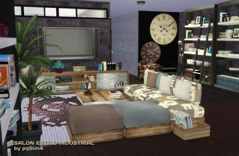 Industrial Living Room Furniture by Pqsims4 Industrial Livingroom Sims 4 Downloads