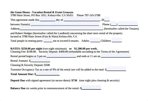 vacation rental contract template sle vacation rental agreement 7 free documents in