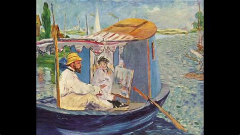manet monet in his studio boat manet monet painting on his studio boat 1874 youtube