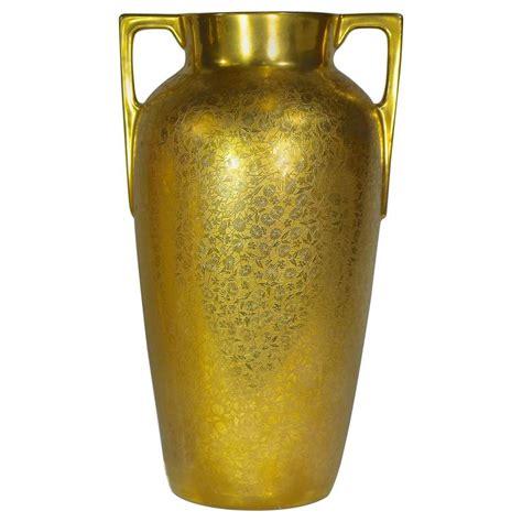 Gold Floral Vases by Vintage Vase 24 Karat Gold Encrusted Floral Brocade
