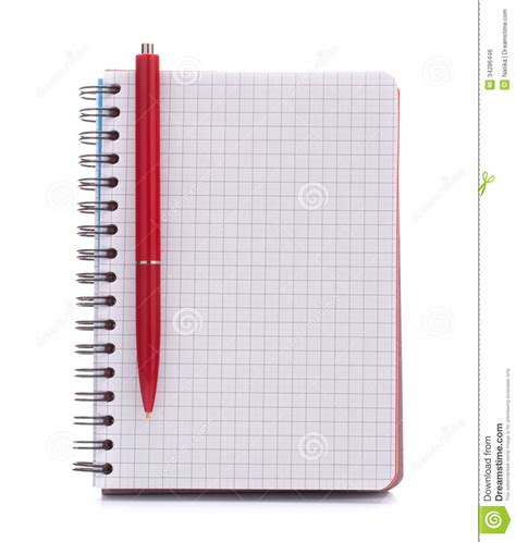 Print Notebook S M open blank checked notebook with pen stock photo