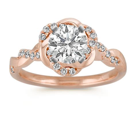 infinity gold engagement ring with twist halo