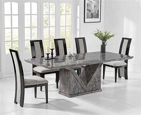 mocha cm grey marble dining table  raphael chairs