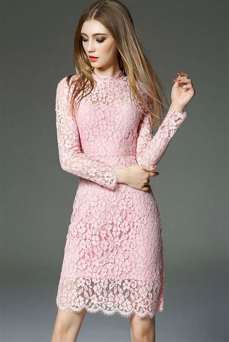 Lace Sleeve Dress pink lace dresses with sleeves ideas designers
