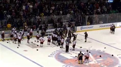 hockey bench clearing brawls bench clearing brawl at fdny nypd hockey game 2014 youtube