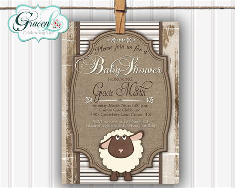 Sheep Baby Shower Invitations by Baby Shower Invitation Baby Shower Invitation