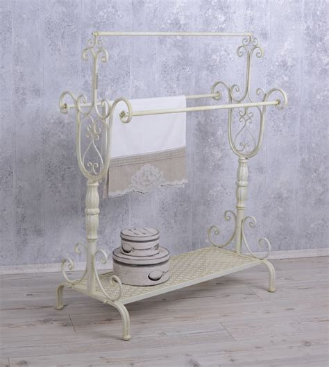handtowel stand shabby chic towel rail white standing towel rack ebay
