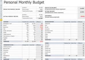 Home Budget Spreadsheet Templates Personal Monthly Budget Template In Excel