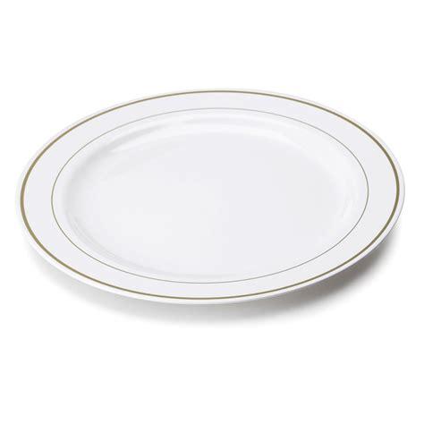 Assiette en plastique rigide blanc liseré or 26 cm