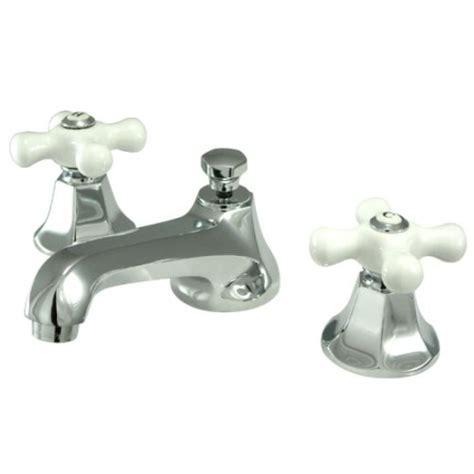 bathroom faucets with white porcelain handles kingston brass ks4461px metropolitan widespread lavatory