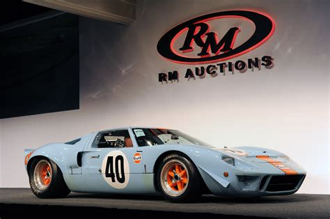 gulf car 1968 ford gt40 gulf mirage auctioned for a record 11