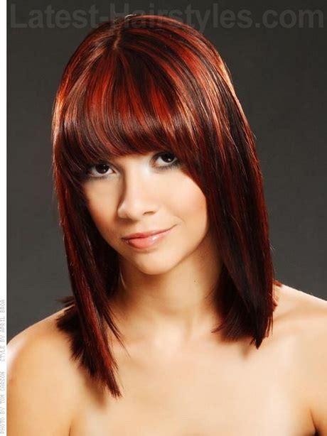 blunt cut bangs with medium length hair medium length hairstyles with bangs