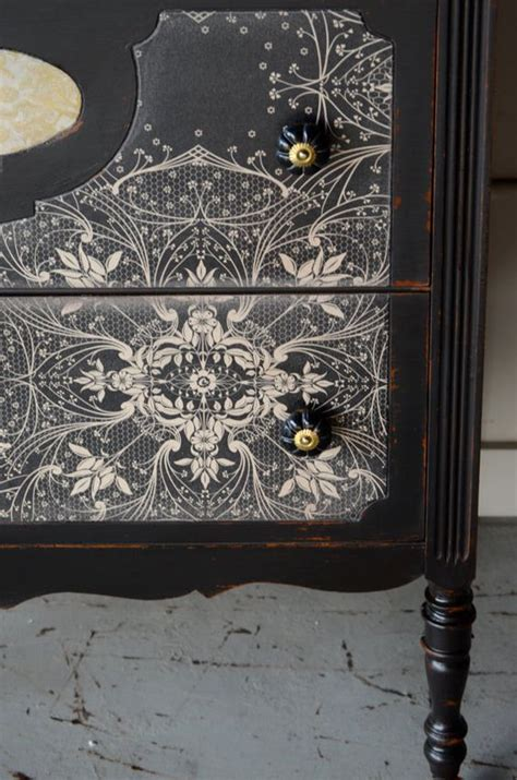 Decoupage Furniture With Wallpaper - black painted furniture with wallpaper decoupage painted
