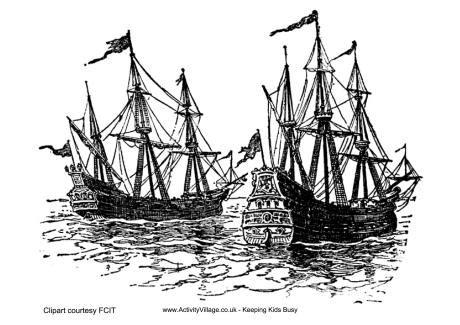 coloring page spanish galleon francis drake ships colouring page
