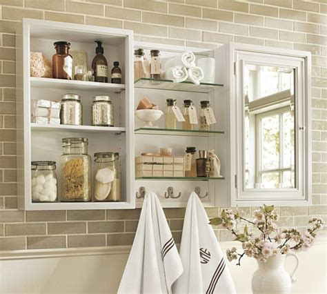 pottery barn bathroom shelves modular wall storage white traditional display and