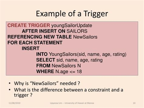 tutorial trigger powerpoint ppt ics 321 fall 2010 constraints triggers views