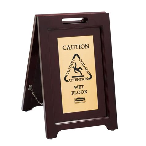 rubbermaid executive series wooden floor safety sign with
