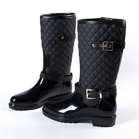 comfortable rain shoes hot brand fashion waterproof rain boots women mid calf