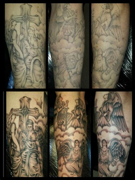 forearm cloud tattoos rework of someone elses work before and after
