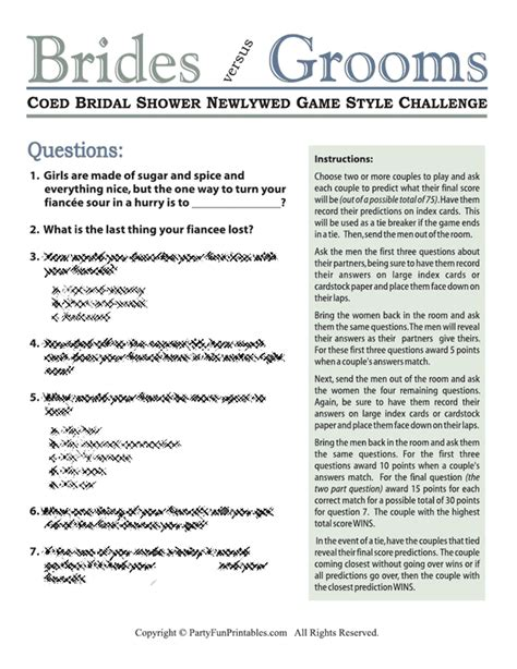 Coed Bridal Shower Newlywed Game