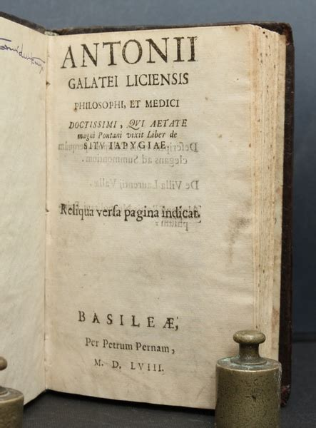 libreria antiquaria mediolanum antonii galatei liciensis liber de situ iapygiae reliqua