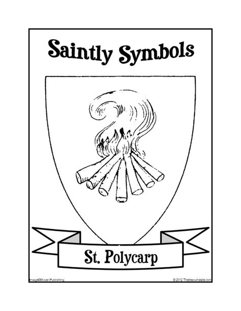 Saintly Symbols of St. Polycarp Coloring Sheet - That