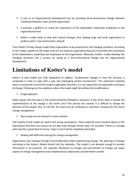 kotter change model pros and cons report on kotter s change model