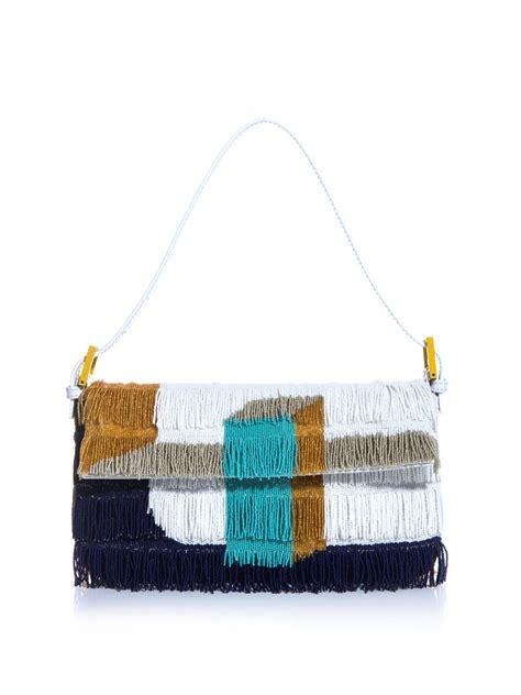 Fendi Multicolor And Beaded Rhinestone Baguette by Fendi Beaded Fringe Baguette Bag In Multicolor Orange Lyst