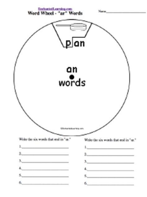card wheel template word families enchantedlearning