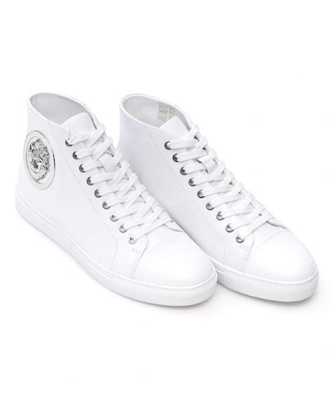 mens white high top sneakers versace versus mens trainers white high top lace up