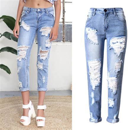 light ripped jeans womens 2016 big hole jeans for women with ripped jeans light blue