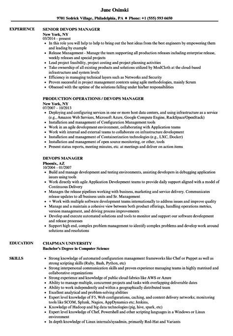 Devops Resume by Devops Manager Resume Sles Velvet