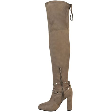womens thigh high boots studded the knee