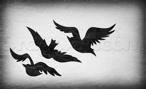 how to draw divergent tris birds tattoo step by step