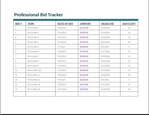 Bid List Template 20 customizable tracker templates for excel document hub