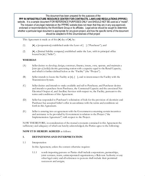 power purchase agreement sle power purchase agreement 10 exles in word pdf