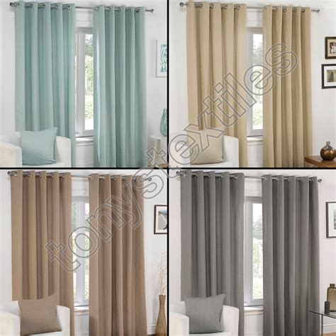 gray brown curtains plain eyelet grommet fully lined pair window curtains