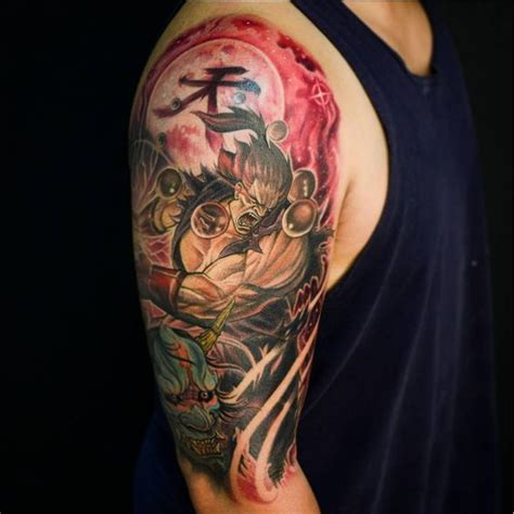 akuma tattoo akuma gohadoken fighter and hannya mask half