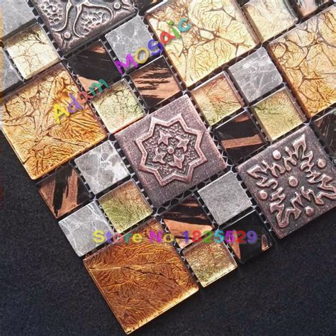 Brown Mosaic Tiles Vintage Pattern Tile Glass Fireplace