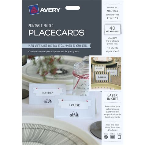 open office place card template avery folded place cards 85 x 50mm 40 pack officeworks