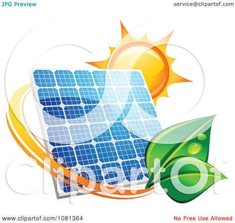 clipart sun above a solar panel with a green leaf circle 3