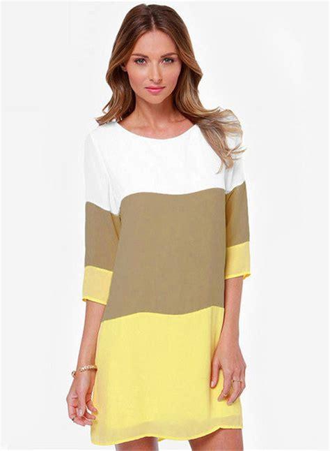 color block 3 4 sleeve dress casual 3 4 sleeve color block pullover dress oasap