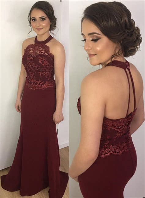 2018 Burgundy Prom Dresses Mermaid Lace Halter Backless Evening Gowns Prom Dresses 2018 Prom