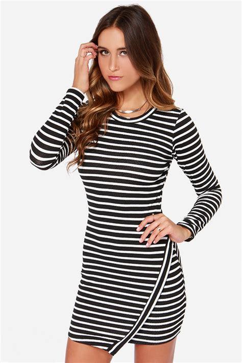 Striped Sleeve Dress black and ivory striped dress sleeve dress