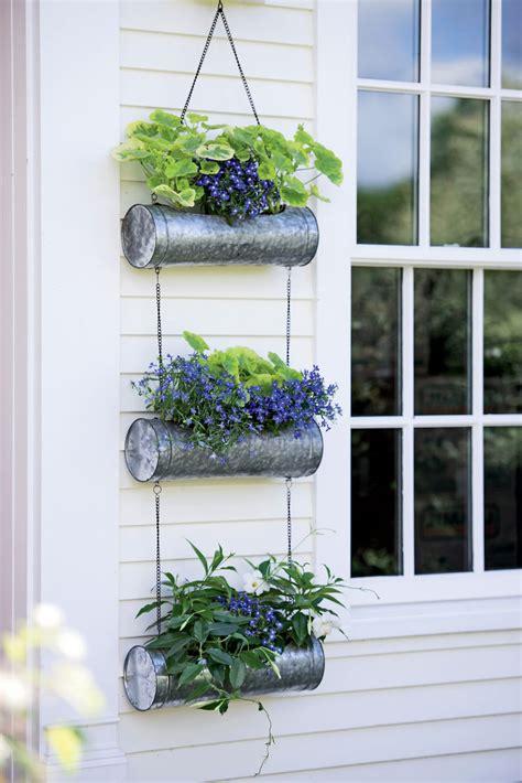 galvanized metal hanging triple planter gardeners supply