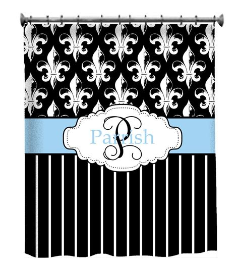 personalized shower curtain custom shower curtain personalized fleur de lis